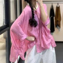 shirt Pink, black, treasure blue, lake blue Average size Summer 2020 hemp 96% and above Long sleeves Original design Regular stand collar Single row multi button raglan sleeve SN6210 hemp
