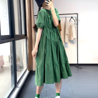 Dress Summer 2020 Yellow, green, navy Average size Mid length dress singleton  Short sleeve commute Crew neck Loose waist Solid color Socket Big swing puff sleeve Hanging neck style Type A Korean version XR80007 More than 95% cotton