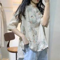 shirt Apricot Average size Summer of 2019 hemp 96% and above Short sleeve Original design Regular stand collar Socket routine Broken flowers N6279 hemp