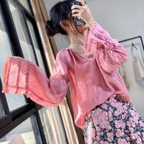 shirt Average size Summer 2020 hemp 96% and above Long sleeves Original design Regular V-neck Socket routine Solid color hemp