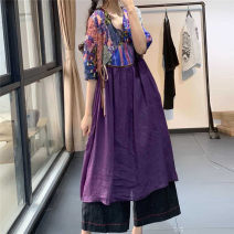 Dress Summer 2020 Purple, red, caramel Average size Mid length dress singleton  elbow sleeve commute V-neck Loose waist Decor Socket Big swing routine Hanging neck style Type A literature printing LZ8093 More than 95% hemp