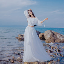 Dress Spring of 2018 white S,M,L longuette Two piece set Long sleeves commute One word collar Elastic waist Solid color other Big swing other Others Type A Other / other court 31% (inclusive) - 50% (inclusive) Chiffon