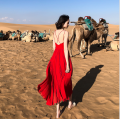 Dress Spring 2021 White, red XS,S,M,L,XL longuette singleton  Sweet V-neck High waist Solid color Socket Big swing camisole backless More than 95% Chiffon Bohemia
