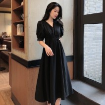 Dress Summer 2021 black S, M Mid length dress singleton  Short sleeve commute V-neck High waist Solid color Socket A-line skirt 18-24 years old Type A Other / other Korean version 31% (inclusive) - 50% (inclusive)