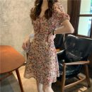 Dress Spring 2021 Shirt, dress S, M Short skirt singleton  Short sleeve commute V-neck High waist Decor zipper A-line skirt puff sleeve Others 18-24 years old Type A Other / other Korean version Lotus leaf edge 31% (inclusive) - 50% (inclusive) Chiffon