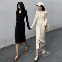 Dress Winter 2020 Apricot, black Average size Mid length dress singleton  Long sleeves commute V-neck High waist Solid color Single breasted A-line skirt routine Others 18-24 years old Type A Other / other Korean version 31% (inclusive) - 50% (inclusive) knitting other