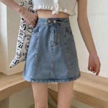 skirt Summer 2021 S,M,L,XL Light blue, black Short skirt commute High waist A-line skirt Solid color Type A 18-24 years old Denim Korean version