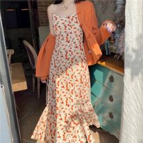 Fashion suit Spring 2021 S. M, l, average size Orange cardigan, floral suspender skirt 18-25 years old Other / other 31% (inclusive) - 50% (inclusive)