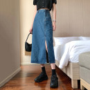 skirt Spring 2021 S,M,L,XL Light blue, dark blue Mid length dress commute High waist Denim skirt Solid color Type A 18-24 years old 31% (inclusive) - 50% (inclusive) Other / other Korean version