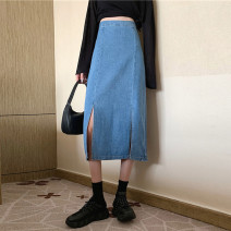 skirt Summer 2021 S,M,L,XL Light blue, black Short skirt commute High waist Denim skirt Solid color Type A 18-24 years old 31% (inclusive) - 50% (inclusive) other Other / other other Korean version