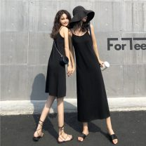 Dress Summer 2021 Average size Mid length dress singleton  Sleeveless commute V-neck Solid color Socket A-line skirt camisole 18-24 years old Type A Other / other Korean version 31% (inclusive) - 50% (inclusive)