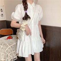 Dress Summer 2021 white Average size Short skirt singleton  Short sleeve commute Polo collar Loose waist Solid color Single breasted A-line skirt puff sleeve 18-24 years old Type A Other / other Korean version 31% (inclusive) - 50% (inclusive)