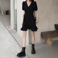 Dress Summer 2021 black Average size Short skirt singleton  Short sleeve commute V-neck High waist Solid color 18-24 years old Type A Other / other Korean version 31% (inclusive) - 50% (inclusive)