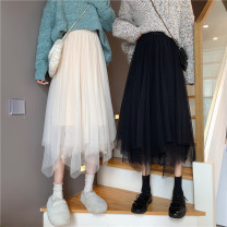 skirt Winter 2020 Average size Apricot, black Mid length dress commute High waist Irregular Solid color Type A 18-24 years old 31% (inclusive) - 50% (inclusive) Other / other other Korean version