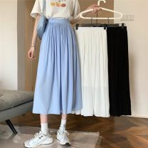 skirt Summer 2021 S,M,L White, blue, black Mid length dress commute High waist A-line skirt Solid color Type A 18-24 years old 31% (inclusive) - 50% (inclusive) other Other / other other Korean version