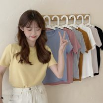 T-shirt Average size Summer 2021 Short sleeve Crew neck easy Regular routine commute other 31% (inclusive) - 50% (inclusive) 18-24 years old Korean version classic Solid color Other / other