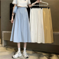 skirt Spring 2021 Average size White, blue, yellow Mid length dress commute High waist A-line skirt Solid color Type A 18-24 years old 31% (inclusive) - 50% (inclusive) other Other / other other Button Korean version