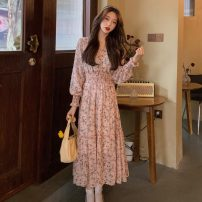 Dress Spring 2021 Pink flowers, blue flowers Average size Mid length dress singleton  Long sleeves commute V-neck High waist Decor Socket A-line skirt routine Others 18-24 years old Type H Other / other Korean version printing 31% (inclusive) - 50% (inclusive) other other
