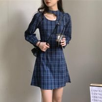 Dress Spring 2021 Picture color S, M Middle-skirt singleton  Long sleeves commute Slant collar High waist lattice other A-line skirt routine Hanging neck style 18-24 years old Type A Other / other Korean version 31% (inclusive) - 50% (inclusive) other other