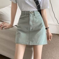 skirt Summer 2021 S,M,L,XL Blue, apricot, black, Mint Milk Green Short skirt commute High waist A-line skirt Type A 18-24 years old 31% (inclusive) - 50% (inclusive) Other / other Korean version