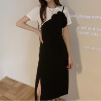 Dress Summer 2021 black S,M,L Mid length dress Fake two pieces Short sleeve commute Crew neck High waist Solid color other routine 18-24 years old Type H Other / other Korean version 31% (inclusive) - 50% (inclusive)