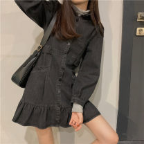 Dress Spring 2021 black S, M Mid length dress singleton  Long sleeves commute Polo collar High waist Solid color Single breasted Ruffle Skirt routine 18-24 years old Type A Other / other Korean version Button 31% (inclusive) - 50% (inclusive) Denim