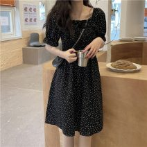 Dress Summer 2021 black Average size Middle-skirt singleton  Short sleeve commute square neck High waist Decor Socket A-line skirt puff sleeve Others 18-24 years old Type A Other / other Korean version 31% (inclusive) - 50% (inclusive) other other
