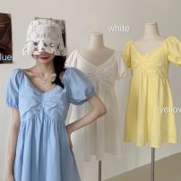 Dress Summer 2021 White, blue, yellow M, L Short skirt singleton  Short sleeve commute V-neck High waist Solid color Socket A-line skirt puff sleeve Others 18-24 years old Type A Other / other Korean version fold 31% (inclusive) - 50% (inclusive) other other