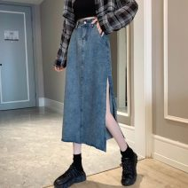 skirt Spring 2021 S,M,L,XL royal blue longuette commute High waist A-line skirt Solid color Type A 18-24 years old 31% (inclusive) - 50% (inclusive) other Other / other other pocket Korean version