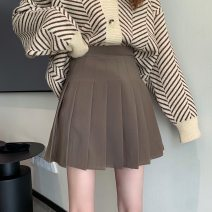 skirt Spring 2021 S,M,L Short skirt commute High waist Pleated skirt Solid color Type A 18-24 years old 31% (inclusive) - 50% (inclusive) fold Korean version