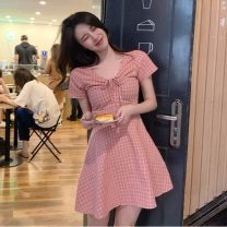 Dress Summer 2021 Pink, yellow Average size Short skirt singleton  Short sleeve commute V-neck High waist lattice Socket A-line skirt routine Others 18-24 years old Type A Other / other Korean version 31% (inclusive) - 50% (inclusive) other other