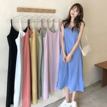 Dress Summer 2021 Orange, white, black, blue, pink, light green, yellow Average size Mid length dress singleton  Sleeveless commute V-neck Loose waist Solid color Socket A-line skirt routine camisole 18-24 years old Type A Other / other Korean version 31% (inclusive) - 50% (inclusive)
