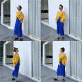 Fashion suit Summer of 2018 Average size Yellow off shoulder top blue skirt 18-25 years old Other / other