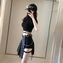 Fashion suit Summer of 2018 S m average High Waist Shorts T-shirt belt plaid skirt 18-25 years old Other / other