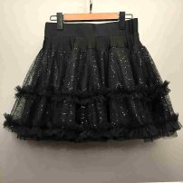 skirt Spring 2021 S,M,L,XL black Short skirt Versatile High waist Cake skirt Solid color Type A 30-34 years old 81% (inclusive) - 90% (inclusive) other polyester fiber Hollow out, three-dimensional decoration 61G / m ^ 2 (including) - 80g / m ^ 2 (including)