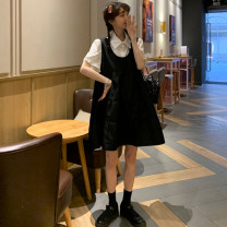 Women's large Summer 2021 Single white shirt, single black skirt M (80-100kg), l (90-120kg), XL (120-140kg), 2XL (140-160kg) Dress Two piece set commute easy thin Socket Short sleeve Solid color Korean version Polo collar routine Three dimensional cutting pagoda sleeve Other / other 18-24 years old