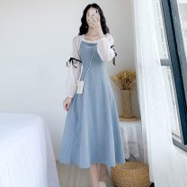 Dress Spring 2021 Light blue, black S,M,L,XL Mid length dress singleton  Long sleeves commute square neck High waist Solid color Single breasted A-line skirt bishop sleeve Others 18-24 years old Type A Korean version Splicing, bandage 81% (inclusive) - 90% (inclusive) other