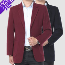 man 's suit Others Fashion City routine standard Double breasted go to work No slits middle age Long sleeves spring Medium length Business Casual Casual clothes Flat lapel Straight hem Solid color Regular collar (collar width 7-9cm) Polyester viscose 2020 Three dimensional bag No iron treatment