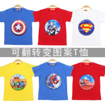 T-shirt Other / other Size 110 (for height 100cm), Size 120 (for height 110cm), Size 130 (for height 120cm), size 140 (for height 130cm), size 150 (for height 140cm) male summer Short sleeve Crew neck Cartoon There are models in the real shooting cotton Cartoon animation Cotton 100% Class A