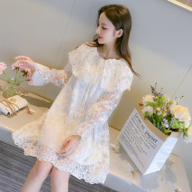 Dress Spring 2021 White double lace, white plush and thickened (sleeves also plush) S (80-105 kg), m (105-120 kg), l (120-135 kg), XL (130-150 kg) Short skirt singleton  Long sleeves commute Crew neck Loose waist Socket A-line skirt pagoda sleeve Type A Other / other Korean version
