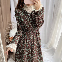 Dress Winter 2020 Black, dark green S,M,L longuette singleton  Long sleeves commute High collar High waist Broken flowers Socket Princess Dress Petal sleeve 18-24 years old Type A Other / other lady Lace 31% (inclusive) - 50% (inclusive)