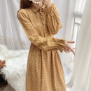 Dress Winter 2020 yellow S,M,L longuette singleton  Long sleeves commute square neck High waist Broken flowers Single breasted A-line skirt Petal sleeve 18-24 years old Type A Other / other lady 31% (inclusive) - 50% (inclusive) corduroy
