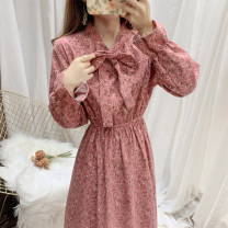 Dress Winter 2020 White, green, Navy, sleeve red S,M,L longuette singleton  Long sleeves commute V-neck High waist Broken flowers Socket A-line skirt Petal sleeve 18-24 years old Type A Other / other lady Frenulum 51% (inclusive) - 70% (inclusive) corduroy