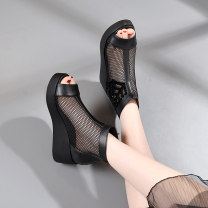 Sandals 34,35,36,37,38,39,40,41 black Superfine fiber Other / other Fish mouth Slope heel High heel (5-8cm) Spring 2021 zipper Korean version Solid color Youth (18-40 years old), middle age (40-60 years old) polyurethane daily Bag heel Gao Bang Lateral space Microfiber skin Microfiber skin Cool boots