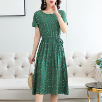 Dress Summer 2021 Color 1, color 2, color 3, color 4, color 7, color 8, color 9, color 10, color 12 L,XL,2XL,3XL,4XL Mid length dress singleton  Short sleeve commute Crew neck High waist Broken flowers Socket Ruffle Skirt routine Others 35-39 years old Type A other Simplicity More than 95% other