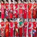 cheongsam Autumn of 2018 Short sleeve long cheongsam Retro High slit perform Oblique lapel Decor Over 35 years old Piping silk