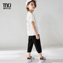 suit Summer of 2019 Childhood diary Three years old, four years old, five years old, six years old, seven years old, eight years old, nine years old, ten years old, eleven years old, twelve years old, thirteen years old, fourteen years old summer male Short sleeve + pants Thin 2 pieces leisure time