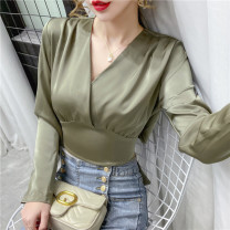 T-shirt White, green, black S,M,L,XL Autumn 2020 Long sleeves V-neck Self cultivation have cash less than that is registered in the accounts routine Sweet other 96% and above Solid color Womanflag 3052 in stock