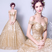 Dress / evening wear Adult ceremony, party, company annual meeting, performance XXL,XXXL,XS,S,M,L,XL golden fashion longuette middle-waisted Autumn 2020 Trailing One shoulder Bandage Netting 18-25 years old Sleeveless Nail bead Angel wedding dress Sequins
