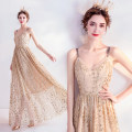 Dress / evening wear Wedding, adulthood, party, company annual meeting, performance XXL,XXXL,XS,S,M,L,XL golden fashion longuette middle-waisted Autumn 2020 Self cultivation Sling type zipper Netting 18-25 years old Nail bead Angel wedding dress 96% and above Sequins